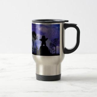 Black bear and the moon travel mug
