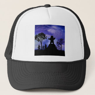 Black bear and the moon trucker hat