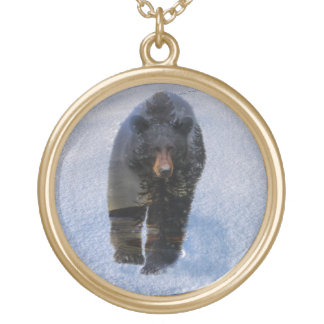 Black Bear and Winter Snow Round Pendant Necklace