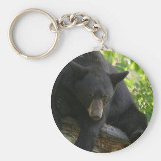 black bear basic round button keychain