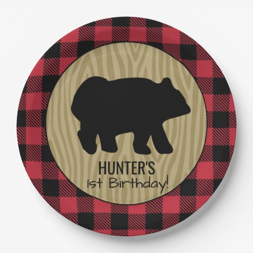 Black Bear Buffalo Plaid Lumberjack Plate