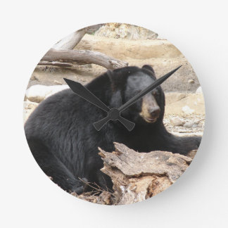 """Black Bear"" by Carter L. Shepard"" Round Clock"
