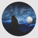 Black bear by moonlight classic round sticker