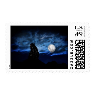 Black bear by moonlight stamp