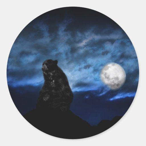 Black bear by moonlight stickers