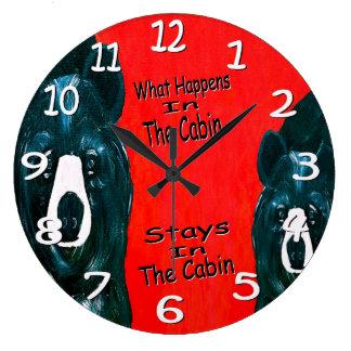 Black bear cabin wall clock