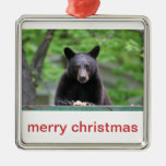 black bear christmas metal ornament