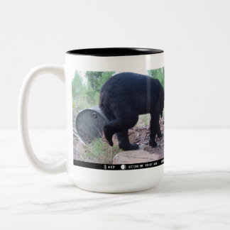 Black Bear Contemplating His Feeder Barrel Plan Two-Tone Coffee Mug