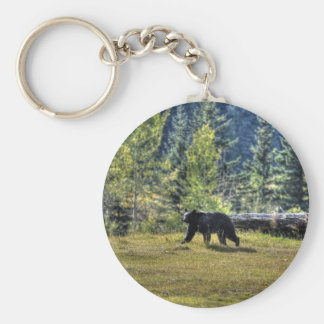 Black Bear Crossing A Ranch Pasture Basic Round Button Keychain