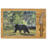 Black Bear Crossing A Ranch Pasture Rectangular Cheese Board