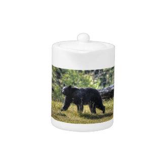 Black Bear Crossing A Ranch Pasture Teapot