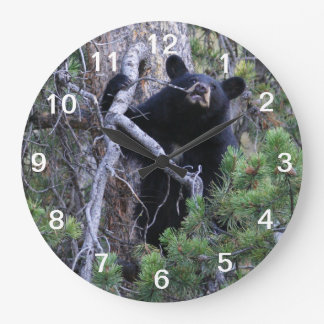 black bear cub large clock