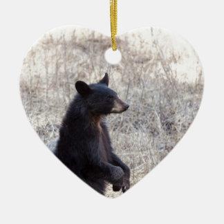 Black Bear Cub Double-Sided Heart Ceramic Christmas Ornament