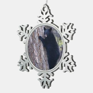 black bear cub snowflake pewter christmas ornament