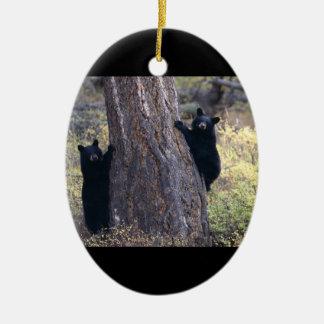 black bear cubs ceramic ornament