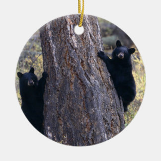 black bear cubs Double-Sided ceramic round christmas ornament
