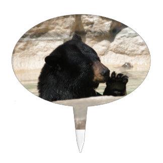 Black Bear enjoying a cool dip Cake Topper