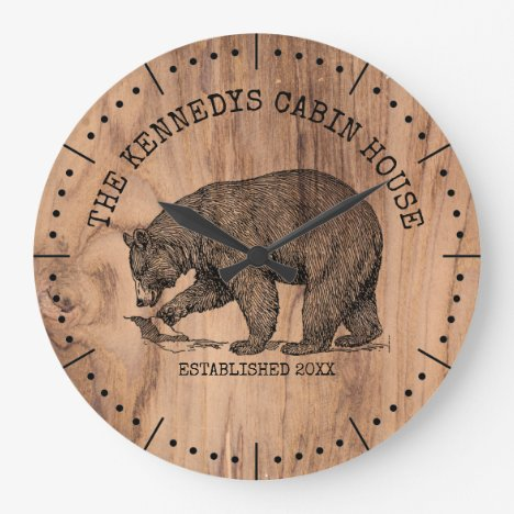 Black Bear Family Name Rustic Wood Cabin House Large Clock