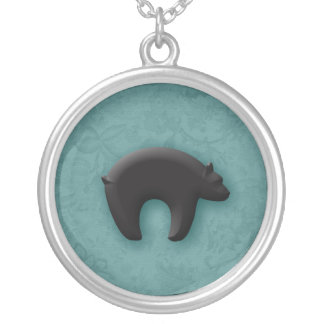 Black Bear in 3D Round Pendant Necklace