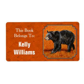 Black Bear in Autumn Orange Book Label