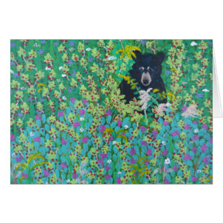 Black Bear in Berry Bush Greeting Card