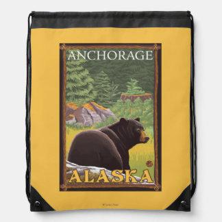 Black Bear in Forest - Anchorage, Alaska Drawstring Bags