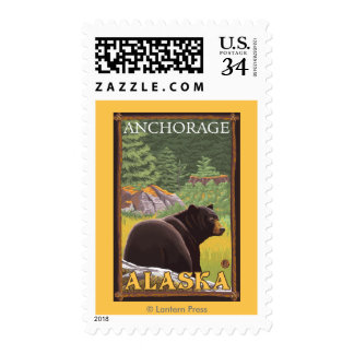 Black Bear in Forest - Anchorage, Alaska Postage