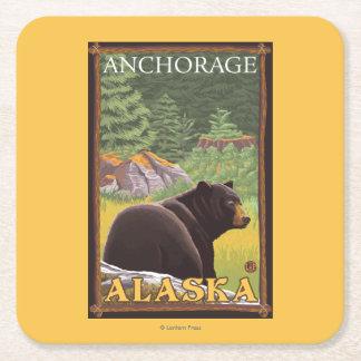 Black Bear in Forest - Anchorage, Alaska Square Paper Coaster