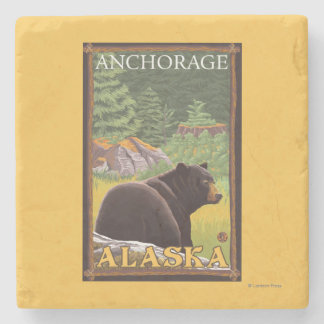 Black Bear in Forest - Anchorage, Alaska Stone Coaster
