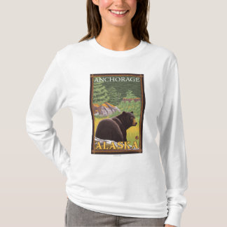 Black Bear in Forest - Anchorage, Alaska T-Shirt