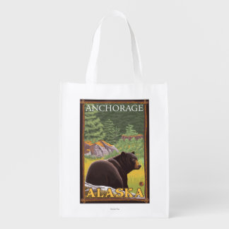 Black Bear in Forest - Anchorage, Alaska Reusable Grocery Bag