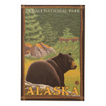 Black Bear in Forest - Denali National Park, Wood Wall Art