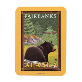 Black Bear in Forest - Fairbanks, Alaska Rectangular Photo Magnet
