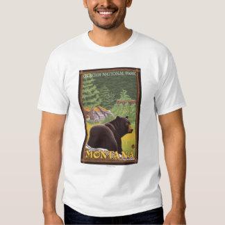 Black Bear in Forest - Glacier National Park, MT Tshirts