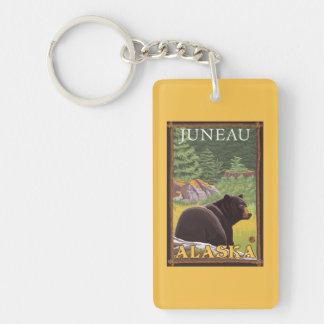 Black Bear in Forest - Juneau, Alaska Double-Sided Rectangular Acrylic Keychain