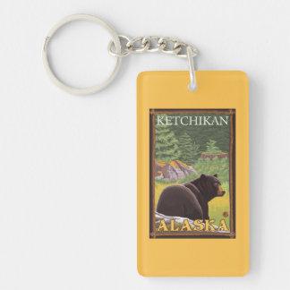 Black Bear in Forest - Ketchikan, Alaska Double-Sided Rectangular Acrylic Keychain