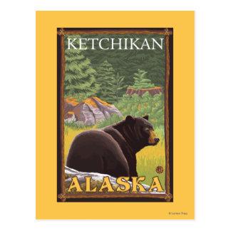 Black Bear in Forest - Ketchikan, Alaska Postcard