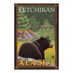 Black Bear in Forest - Ketchikan, Alaska Poster