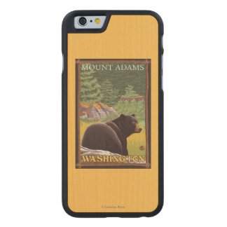 Black Bear in Forest - Mount Adams, Washington Carved Maple iPhone 6 Case