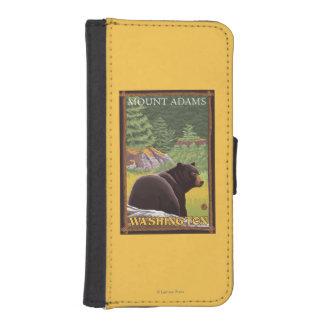 Black Bear in Forest - Mount Adams, Washington Wallet Phone Case For iPhone SE/5/5s