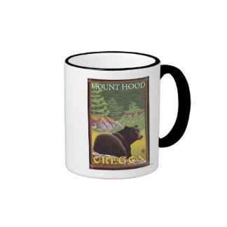 Black Bear in Forest - Mount Hood, Oregon Ringer Mug