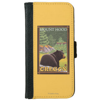 Black Bear in Forest - Mount Hood, Oregon Wallet Phone Case For iPhone 6/6s