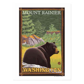 Black Bear in Forest - Mount Rainier Washington Post Cards
