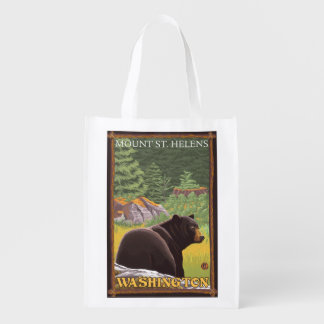 Black Bear in Forest - Mount St. Helens, WA Reusable Grocery Bag
