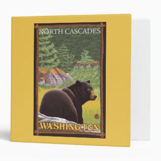 Black Bear in Forest - North Cascades, Washingto 3 Ring Binder