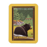 Black Bear in Forest - North Cascades, Washingto Rectangular Photo Magnet