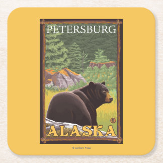 Black Bear in Forest - Petersburg, Alaska Square Paper Coaster