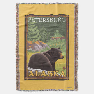 Black Bear in Forest - Petersburg, Alaska Throw