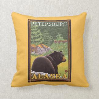 Black Bear in Forest - Petersburg, Alaska Throw Pillow