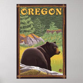 Black Bear in Forest Scene - Oregon Poster